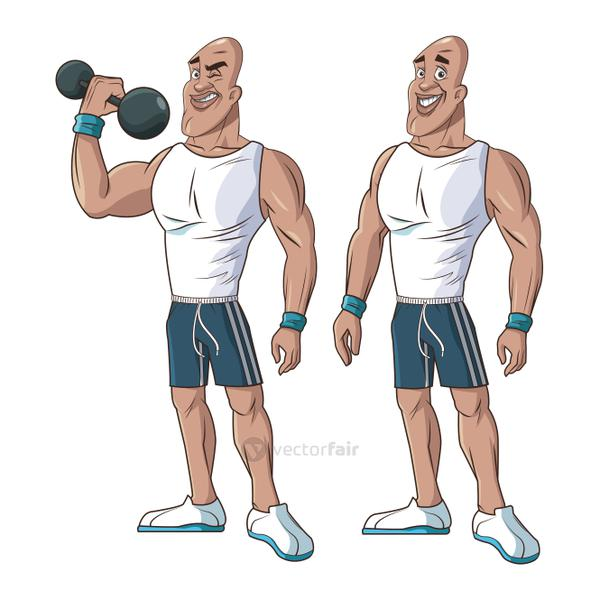 healthy men athletic muscular weight