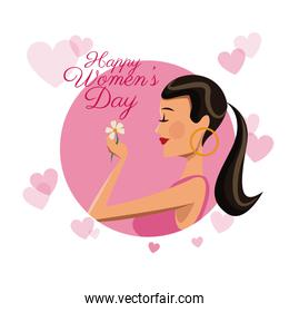 happy womens day card girl flower pink hearts image