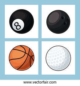 collection balls sport icons