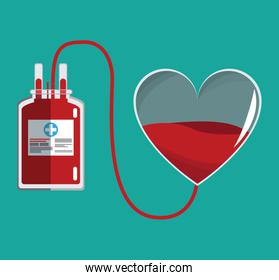 donate blood glass heart and iv bag