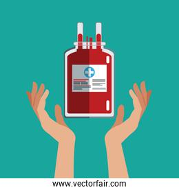 hand with iv bag donate blood