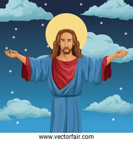 jesus christ religious blessed night background