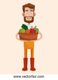 bearded farmer with vegetable basket