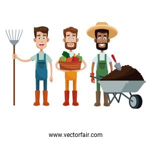 three men farmer work image