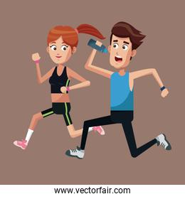 couple running exercise healthy