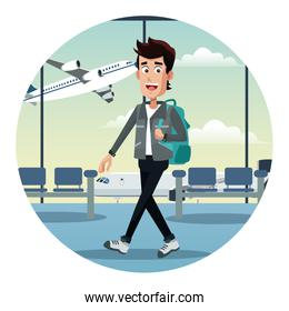 young man with backpack airport