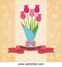 bouquet flowers happy mothers day card