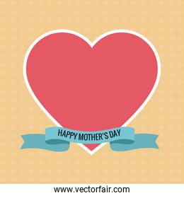 happy mothers day pink heart ribbon