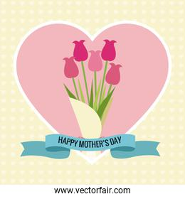 happy mothers day card heart bouquet flowers