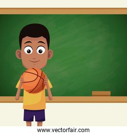 student in classroom with chalkboard
