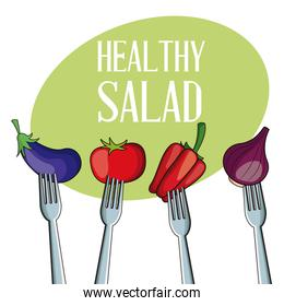 healthy salad vegetables with fork