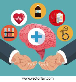 hand with human brain healthcare items