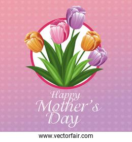 happy mothers day card tulips and hearts background