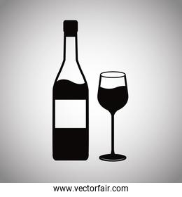 wine bottle and glass cup image