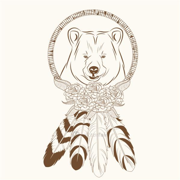 dream catcher with bear feathers hipster