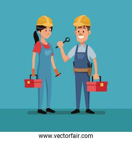 couple worker construction tools clothes labor day