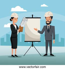 man and woman engineer construction presentation board cityscape