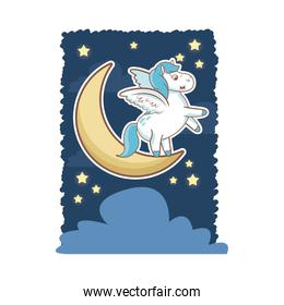 unicorn magical horse pony wings with moon star cloud card