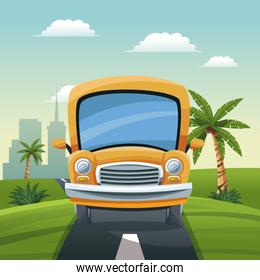 yellow bus travel vacation road landscape city background