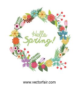 spring floral wreath poster with hand lettering design