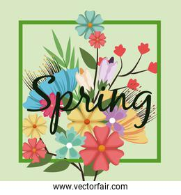 lettering spring time on background with spring flowers
