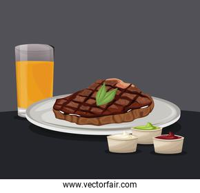 fillet steak fresh juice and sauce fast food eating concept