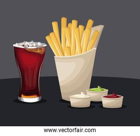french fries and soda with ketchup mustard fast food eating concept