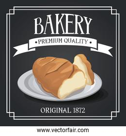 bakery premium quality shop design elements, rye and wheat bread, decorative cereal ribbon banner
