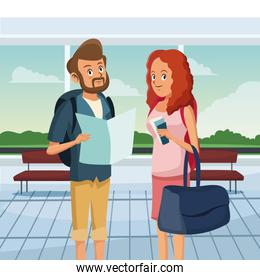 loving couple standing at airport. traveling scene hall design