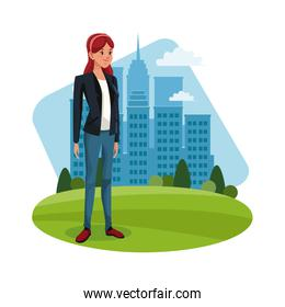 character woman young standing grass city background