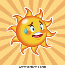 character sun happy with striped background