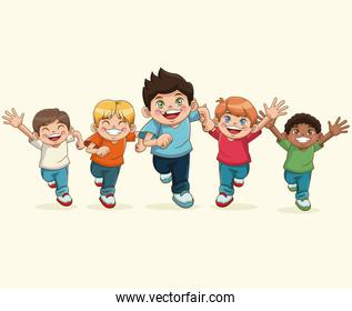 happy children day. cartoon group boy smiling funny