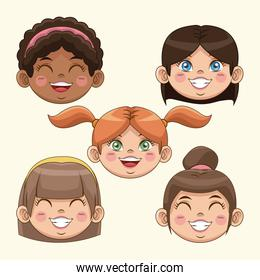 happy children day girls face smiling cute funny