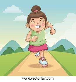 children day happy. cute little girl on the road. child running on road