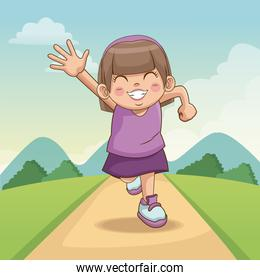 children day happy. cute little girl on the meadow. child running on road