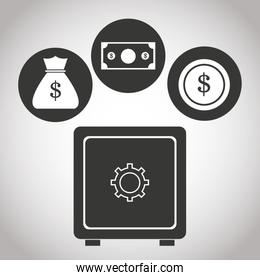 box safe money bank currency coin. banking pictogram image