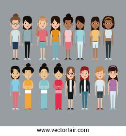 cartoon woman differents culture race ethnic