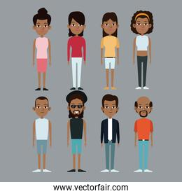 character group man and woman afro american