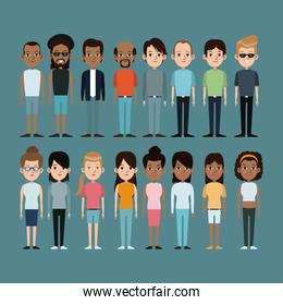 cartoon people caucasian and afro american community standing