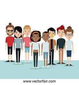 cartoon differents group people community culture age