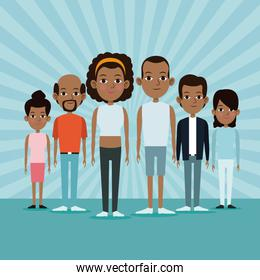 cartoon african men and women community young adult