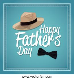 happy fathers day card. decoration hat and bow tie design