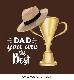 greeting card best dad in the world with trophy hat father design