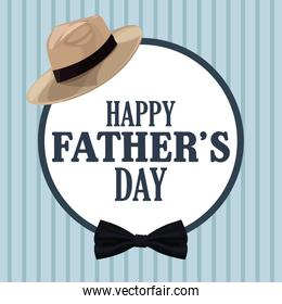 fathers day card, hat bow tie decoration badge retro style.
