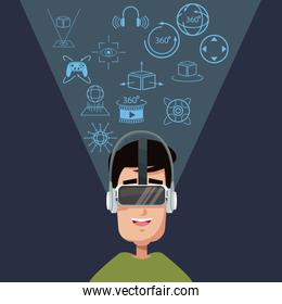young man virtual reality wearing goggle technology concept