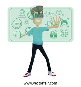 young man virtual reality wearing headset device innovation