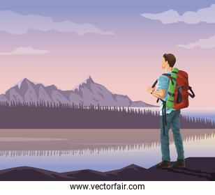 realistic landscape background of snowy mountains and lake with mountaing climber looking to horizont