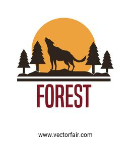 white background with logo forest with wolf silhouette