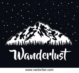 black color background of snowy mountains with starry sky wanderlust