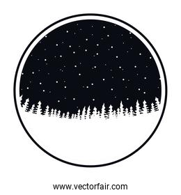 circular frame of black color of night landscape forest with starry sky